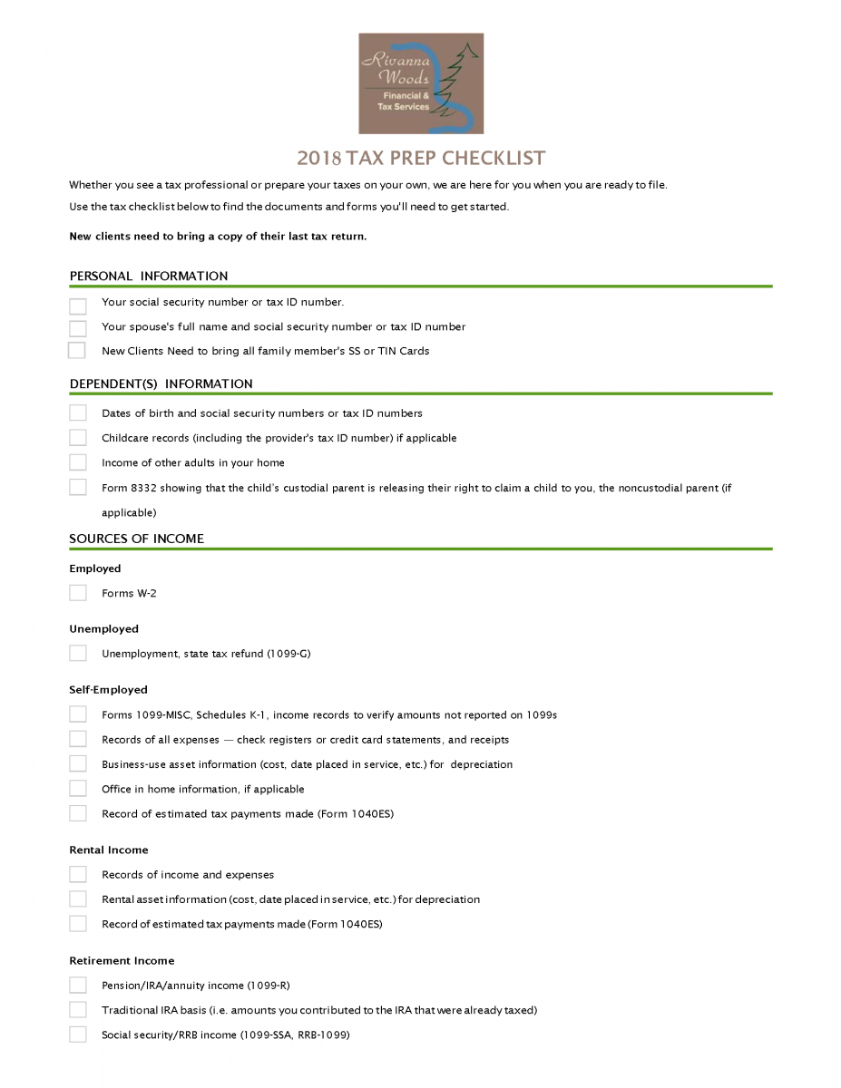 Rivanna Wood Financial Tax Services : 2018 Tax Preparation Checklist